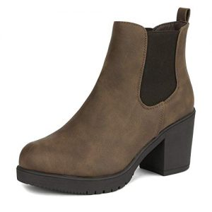DREAM PAIRS Women's FRE Brown_PU High Heel Ankle Boots