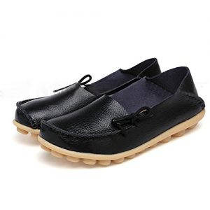 SHIBEVER Women's Leather Loafers Moccasins Wild Driving Casual