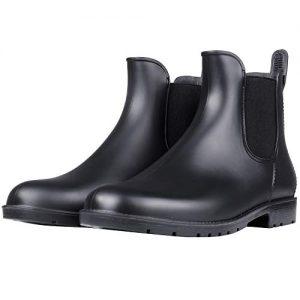 Women's Waterproof Ankle Rain Boots - Lady Slip On Short Rain Shoes