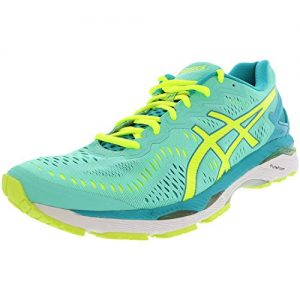 ASICS Women's Gel-Kayano 23 Running Shoe, Cockatoo/Safety Yellow/Lapis