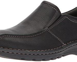 CLARKS Men's Vanek Step Loafer, Black Oily Leather