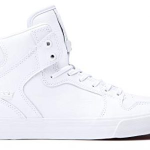Supra Footwear - Vaider High Top Skate Shoes, White/White-Red, 5.5 M US Women/4 M US Men