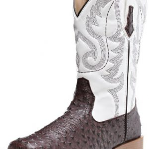 ROPER Men's Ostrich Print Square Toe Cowboy Boot, Brown Faux Leather/Western Stitch, 10.5 D-Medium