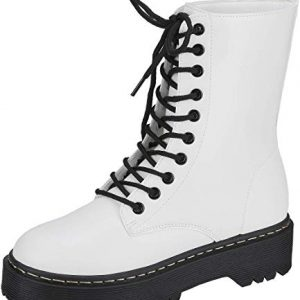 Womens Combat Boots Military Lace Up Black Lug Sole