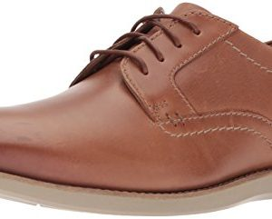 Clarks Men's Raharto Plain Shoe, dark tan leather