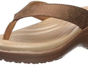 Crocs Women's Capri MetallicText Wedge Flip Flop Bronze