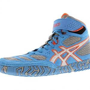 Asics Men's Aggressor 2 Wrestling Shoe,Dusty Blue/Silver/Red Orange,11.5 M US