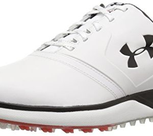 Under Armour Men's Performance SL Leather Golf Shoe, White (100)/Black, 8.5