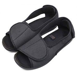 Women's Premium Diabetic Shoes, Open Toe Extra Wide Width Adjustable Sandals, Arthritis Edema Slippers