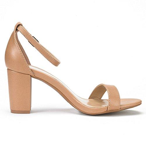 DREAM PAIRS Womens Chunk Low Heel Pump Sandals, Nude Pu