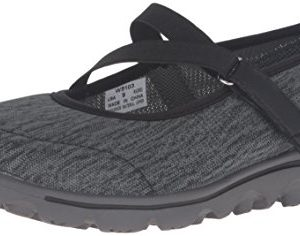 Propet Women's TravelActiv Mary Jane Oxford, Black/Grey Heather, 7 Narrow