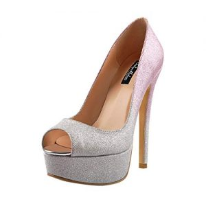 Onlymaker Women's Sexy High Heels Peep Toe Slip On Platform