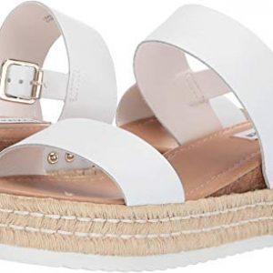 Steve Madden Women's Catia Wedge Sandal White Leather