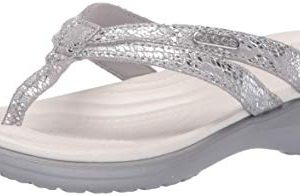Crocs Women's Capri Strappy Flip Flop | Casual Comfortable Lightweight Beach Shoe Silver, 11 M US