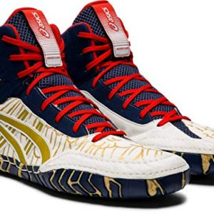 ASICS Aggressor Men's Wrestling Shoes, White/Rich Gold