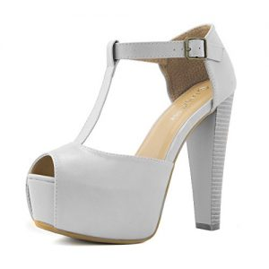 DailyShoes Ankle Platform Sandal Pumps High Heels Chunky Buckle Strap