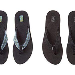 Teva Women's Mush II 2 Pack Flip Flop, Fronds Black/Companera Blue