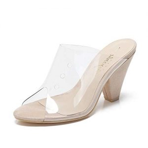 Mackin Girl Mule Women's TPU Lucite Clear Heeled Sandals
