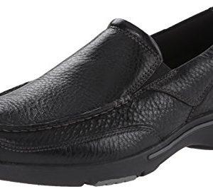 Rockport Men's Eberdon Slip-On Loafer- Black Leather/Flint