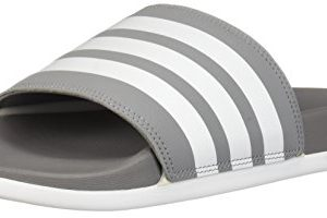 adidas Men's Adilette Comfort Slide Sandal, White/Grey