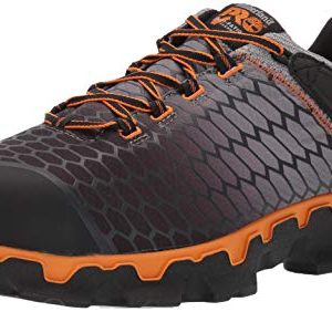 Timberland PRO Men's Powertrain Sport Alloy Toe EH Puncture Resistant Industrial Boot Gray/Orange 9.5 W US