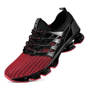 Biacolum Mens Hiking Shoes Slip on Lightweight Breathable Athletic Walking Running Sneakers for Men Red 8.5M US