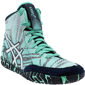 ASICS Men's Aggressor 3 L.E. GEO Wrestling Shoe, Cockatoo/White/Dark Sapphire, 11 M US