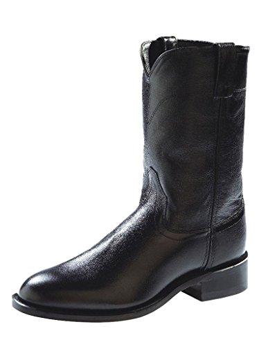 Old West Men's Leather Roper Cowboy Boot Black