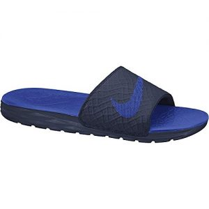 Nike Men's Benassi Solarsoft Slide Athletic Sandal, Midnight Navy/Lyon Blue