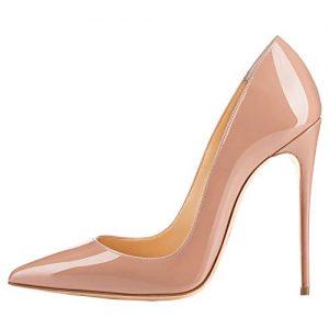 LOVIRS Womens Nude Pointed Toe High Heel Slip On Stiletto