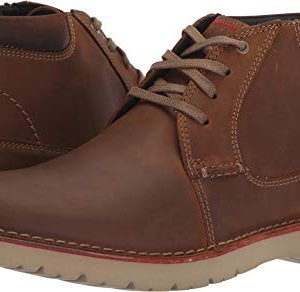 Clarks Men's Vargo Mid Ankle Boot, Dark Tan Leather