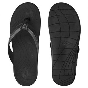 V.Step Orthotic Flip Flops - Wide Width Women's and Men's Thong Sandals with Arch Support for Comfortable Walk, for Plantar Fasciitis, Flat Feet, Heel Pain (Men Size 8/40 & Women Size 9/40) Black