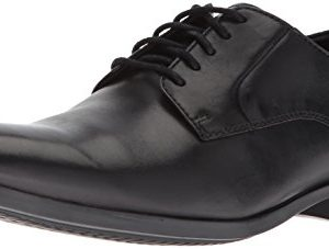 CLARKS Men's Conwell Plain Oxford, Black Leather