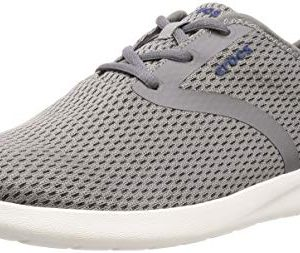 Crocs Men's LiteRide Mesh Lace Sneaker, Smoke/White