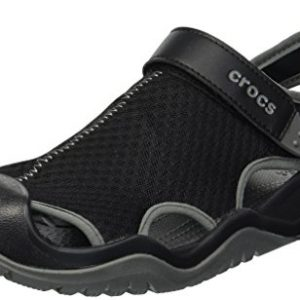 crocs Men's Swiftwater Mesh Deck Sandal Sport, Black
