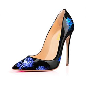 YCG Women's High Heels Pumps Blue Flower Printing Slip on Shoes