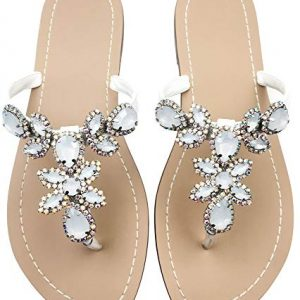 Hinyyrin Women's Rhinestone Sandals, Bohemia Flat Sandals, Low Heel Flip Flop, Jeweled Sandals White Size 9