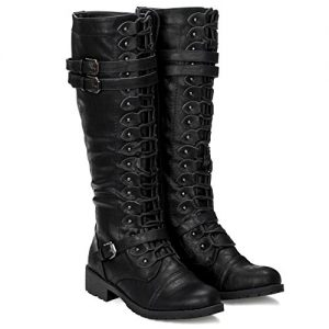 ILLUDE Womens Knee High Lace Up Buckle Military Combat Boots (8, Black)