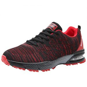 RomenSi Men's Air Cushion Sport Running Tennis Shoes Lightweight Breathable Walking Fitness Jogging Cross Training Gym Sneakers (8 D(M) US, Redblack)
