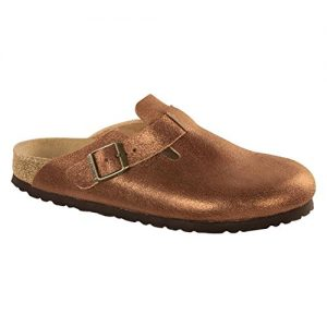 Birkenstock Womens Boston Leather Clog, Washed Metallic Antique Copper