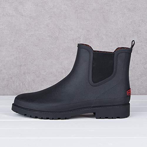 UNICARE Men's Chelsea Rain Boots Waterproof Slip on Shoes Nonslip UNICARE Men's Chelsea Rain Boots Waterproof Slip on Shoes Nonslip Short Ankel Boots Rubber Rain Footwear Handmade, Black, US Size 10.5.