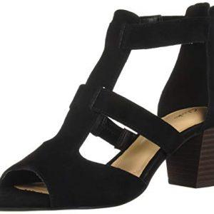 CLARKS Women's Deloria FAE Heeled Sandal, Black Suede, 90 M US