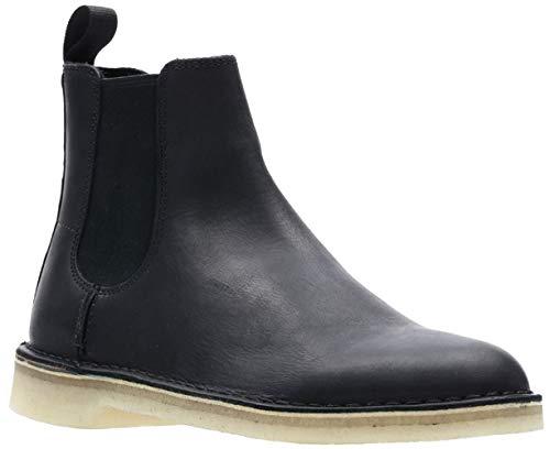 CLARKS Men's Desert Peak Chelsea Boot, Black Leather, 12 M US