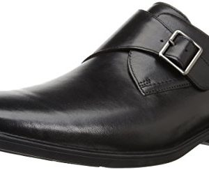 Clarks Men's Tilden Style Monk-Strap Loafer, Black Leather, 9 M US