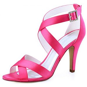 ElegantPark Women High Heel Shoes Open Toe Cross Strap