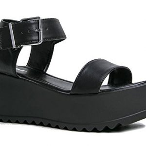 Surf Buckle Sandal, Black PU