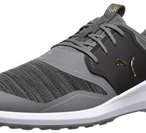 Puma Golf Men's Ignite Nxt Lace Golf Shoe, Quiet Shade Team Gold-Puma Black