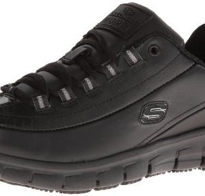 Skechers for Work Women's Sure Track Trickel Slip Resistant Work Shoe, Black, 9 M US