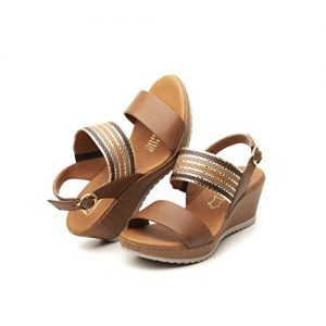 Flexi ELENNA Women's Genuine Leather Shiny Strips Wedge Sandals
