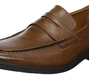 CLARKS Men's Tilden Way Penny Loafer, tan Leather, 10.5 Medium US